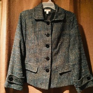 Dress Barn Black Blue Tweed Blazer Jacket Sz 16